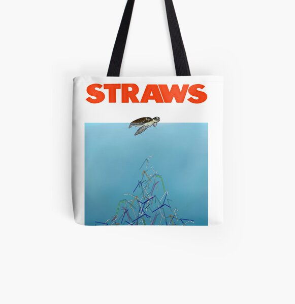 Turtles straws All Over Print Tote Bag