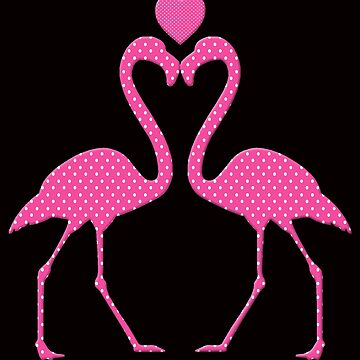 Pink Polka Dot Flamingo With A Heart by Atteestude