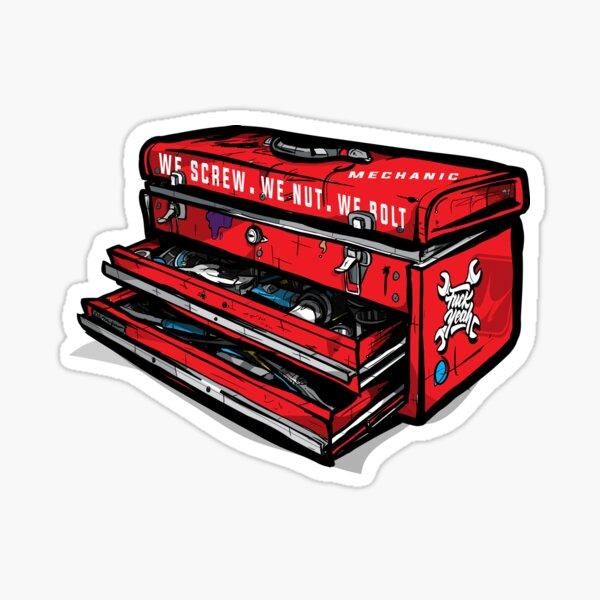 "Mechanics Toolbox ""We Screw, We Nut, We Bolt"" Illustration Sticker"