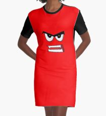 Angry Face Graphic T-Shirt Dress