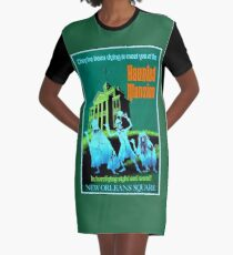 NEW ORLEANS : Vintage Haunted Mansion Advertising Print Graphic T-Shirt Dress