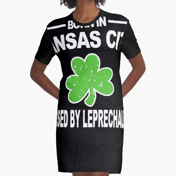 Kansas City Shirt Raised By Leprechauns St Patricks Shirt Graphic T-Shirt Dress