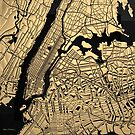 Cities of Gold - Golden City Map of New York on Black by Serge Averbukh
