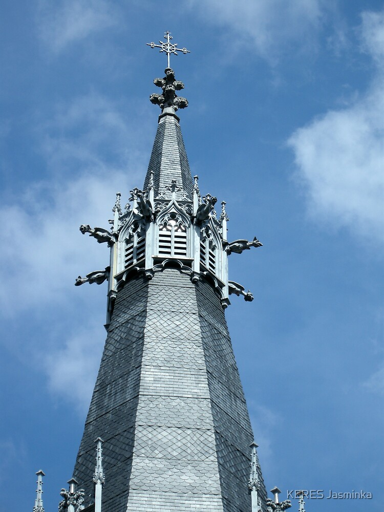 steeple of the church St Georges, Lyon, France  by KERES Jasminka