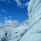 Ice climbers by overhung ice wall by LichenRockArts