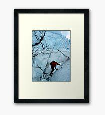 Ice climber hikes ice Framed Print