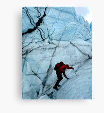 Ice climber hikes ice Canvas Print