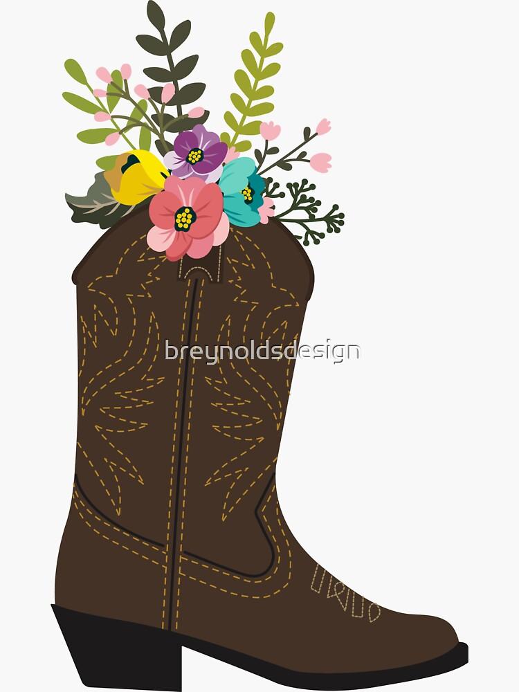 Floral Cowboy Boot by breynoldsdesign