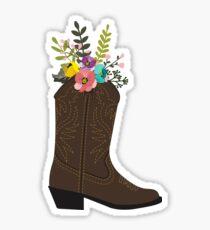 Floral Cowboy Boot Sticker