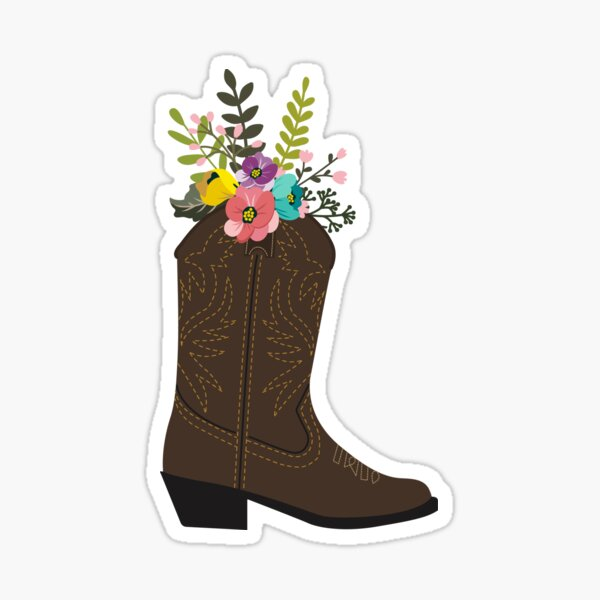 Floral Cowboy Boot Sticker