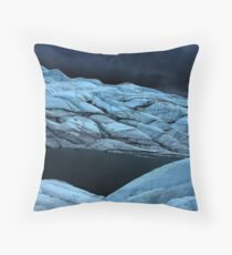 Stormy super dark glacier Throw Pillow