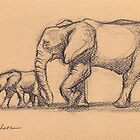 My Sweet Little Boy: Baby Elephant & Mama Pencil Sketch #15 by Rebecca Rees