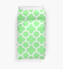 Mint Green Quatrefoil Pattern Duvet Cover