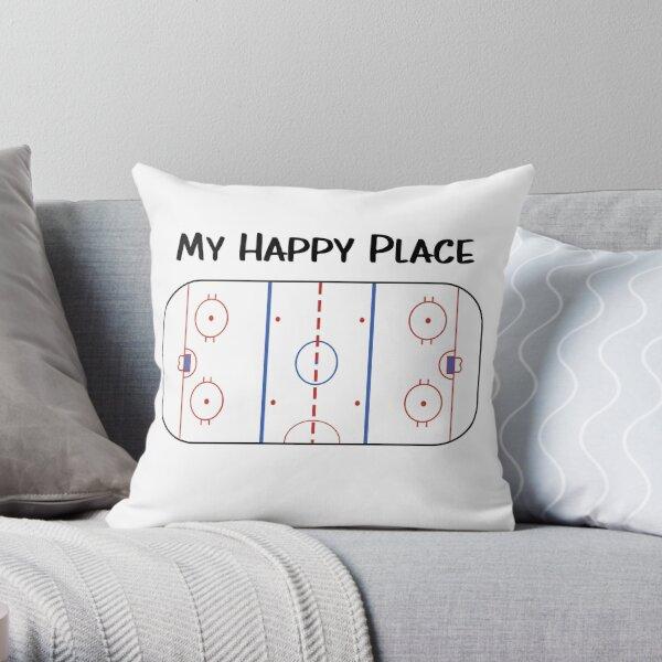 My happy place Hockey Throw Pillow