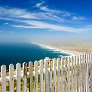 Weathered White Fence by the Sea by Barbara  Brown
