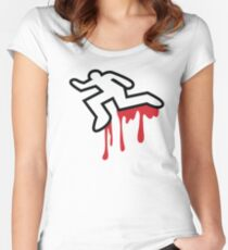 Coroner murder victim outline with dripping blood Women's Fitted Scoop T-Shirt