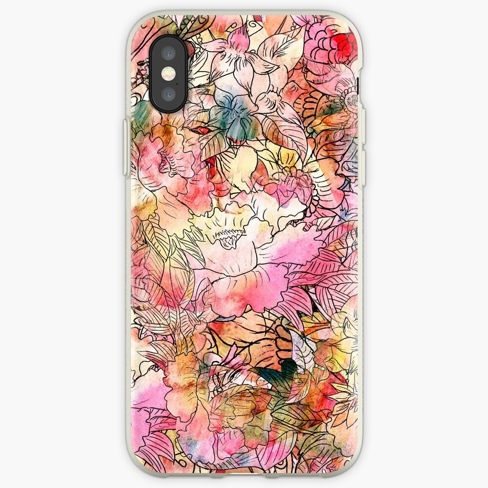 Bunte Aquarell-Blumenmuster-abstrakte Skizze iPhone-Hülle & Cover