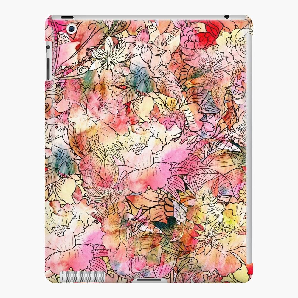 Colorido, acuarela, patrón floral, resumen, bosquejo Funda y vinilo para iPad