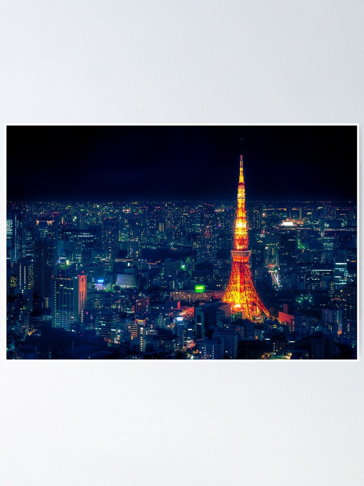 Alternate view of Tokyo Tower at night Poster