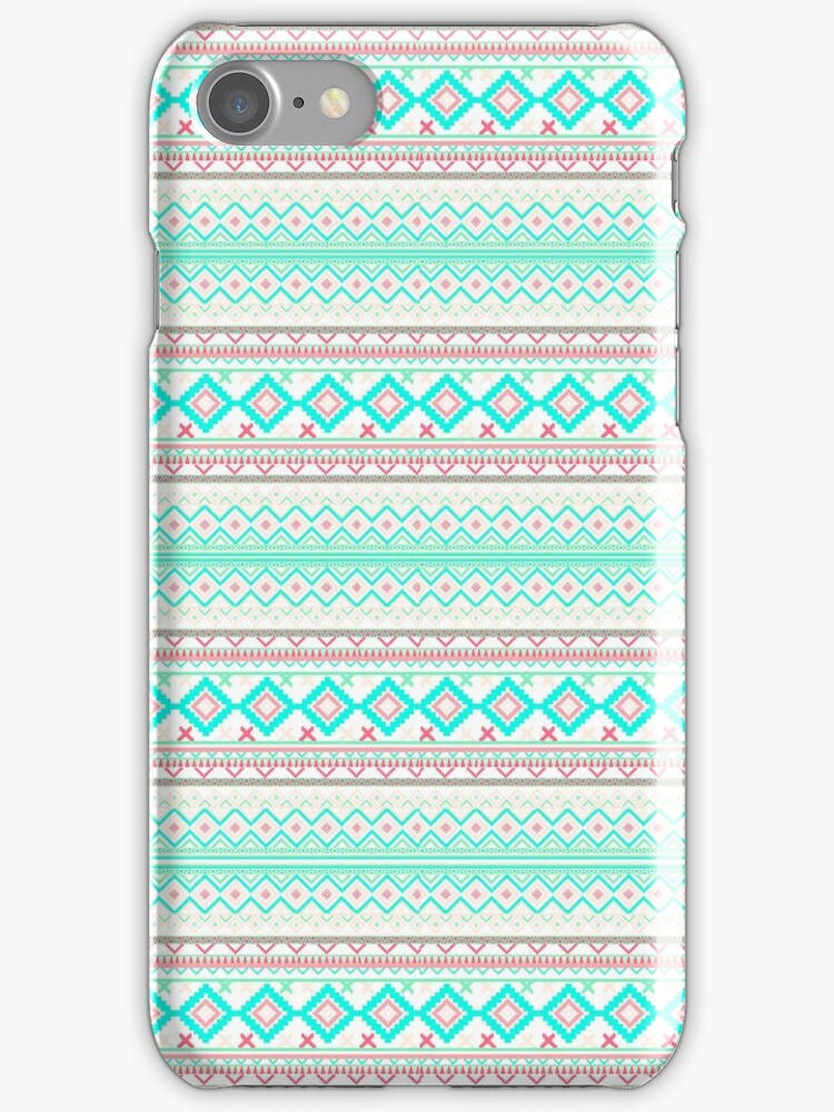 Trendy Mod Bright Teal Pink Abstract Aztec Pattern  by GirlyTrend