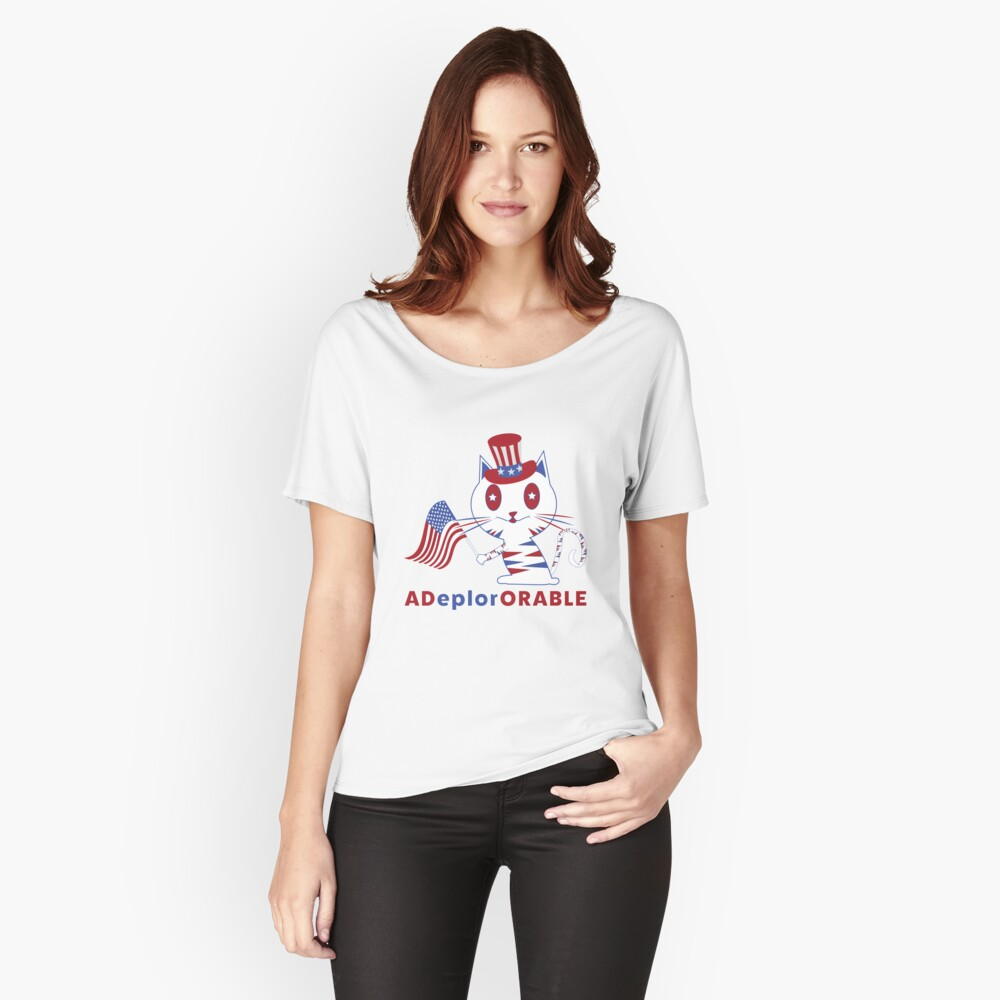 Adorable Deplorable Patriotic Kitten Women's Relaxed Fit T-Shirt Front