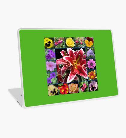 Auswahl an Sommerblumen Collage Laptop Skin