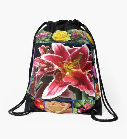 Auswahl an Sommerblumen Collage Turnbeutel