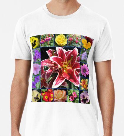 Auswahl an Sommerblumen Collage Premium T-Shirt