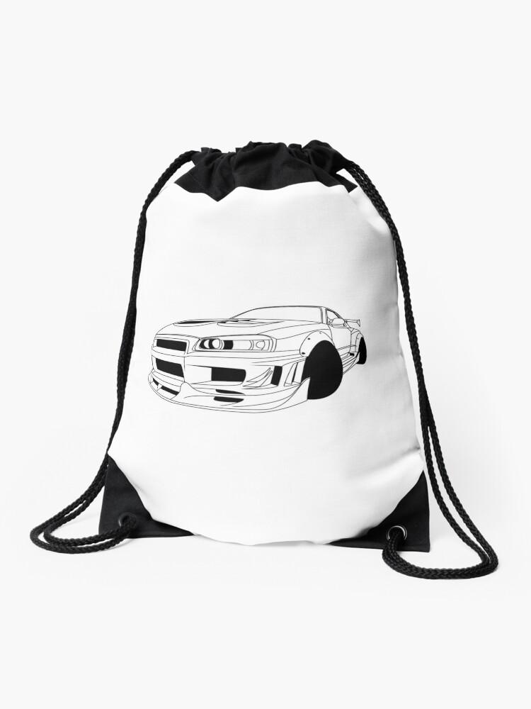 Nissan Skyline R34 Gtr Lineart Drawstring Bag By Poledrift