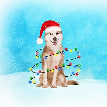 Siberian Husky Dog With Christmas Lights in Snow  by aashiarsh