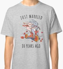 Just Married 80 Years Ago - 80th Anniversary Couple Bunnies Tee, Phone Cases And Other Gifts Classic T-Shirt