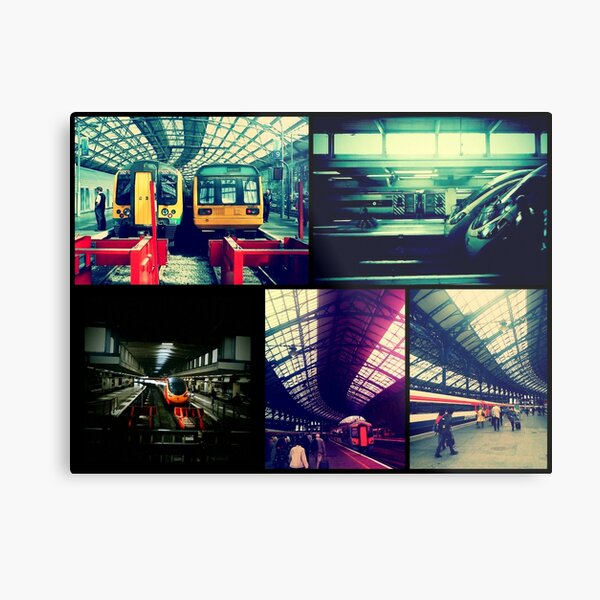 Trains Collage Metal Print