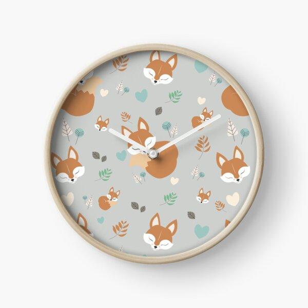 Sleepy Fox Pattern in The Cartoon Woodland  Clock