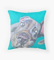 Very friendly grey dog Throw Pillow