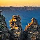First sunrays in the morning at Three Sisters in Blue Mountains, Australia by Danielasphotos