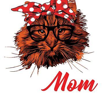 cat womens t-shirts - bandana cat mom t-shirts by Jermoumi