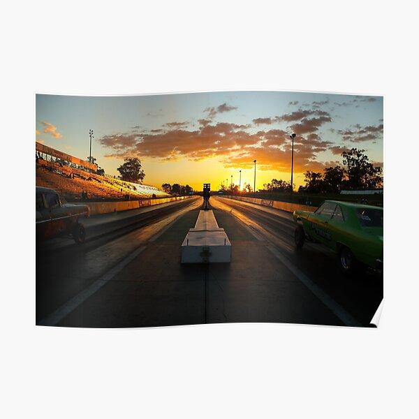 Drag Racing Sunset Poster
