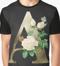 55b64dfdeb Camiseta gráfica Letra A del monograma floral de la vendimia, iniciales de  la hoja de