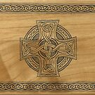 Celtic Cross Design Ink on Wood by BaM-Productions