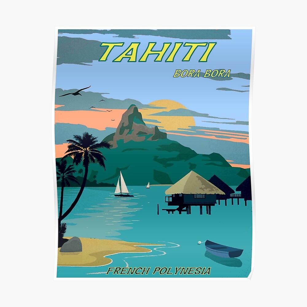 TAHITI : Vintage Travel to Bora Bora Advertising Print Poster
