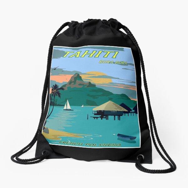 TAHITI : Vintage Travel to Bora Bora Advertising Print Drawstring Bag