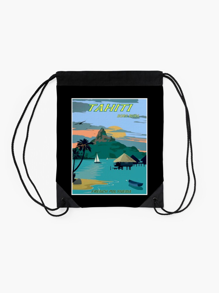 Alternate view of TAHITI : Vintage Travel to Bora Bora Advertising Print Drawstring Bag