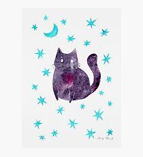 Purple Cat with Blue Stars Photographic Print