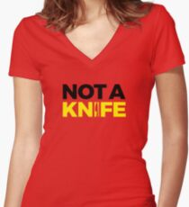 Not A Knife - Black Women's Fitted V-Neck T-Shirt