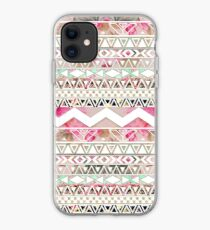 Girly Pink White Floral Abstract Aztec Pattern iPhone Case