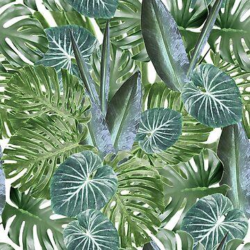 Tropical leaves Desaturated Version by ElysiumDesign