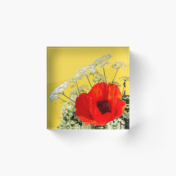 YELLOW GARDEN POPPY & LACE FLOWERS Acrylic Block
