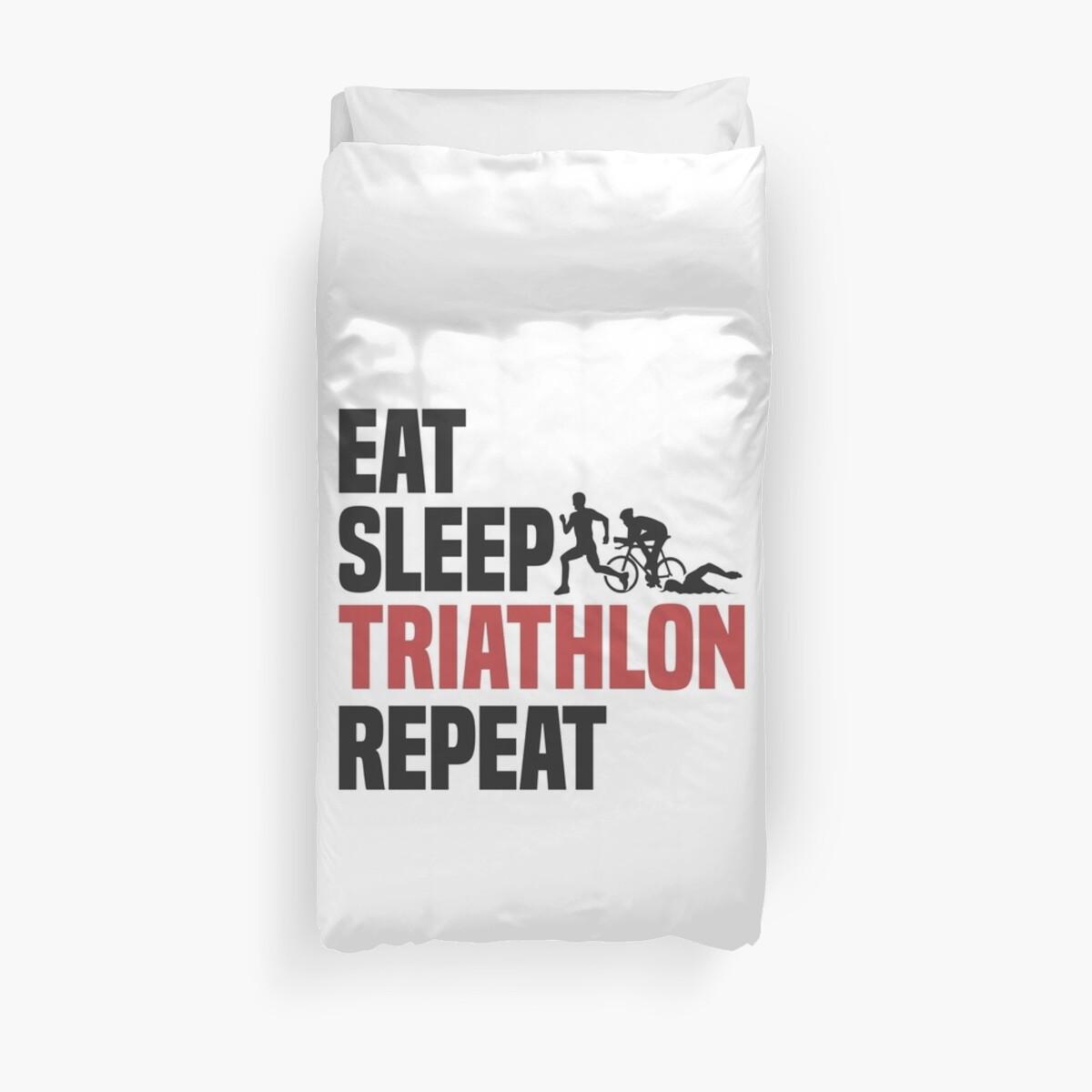 Eat Sleep Triathlon Repeat T-Shirt - Cool Funny Nerdy Comic Graphic ...