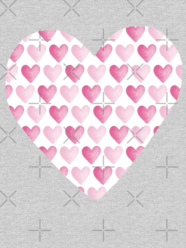 Pink Watercolour Hearts Pattern by HazelFisher
