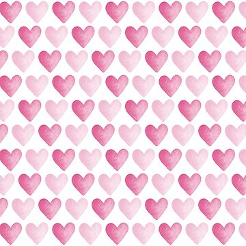 Pink Watercolour Hearts Pattern by HazelFisher